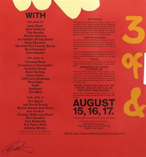 woodstock festival original large poster signed  promoter michael lang