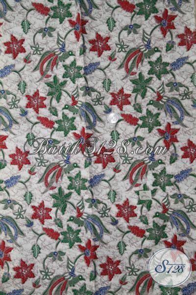 Kain Batik Motif Burung Warna Merah kain batik motif burung bertengger pada dahan bunga warna merah model baju batik modern 2018