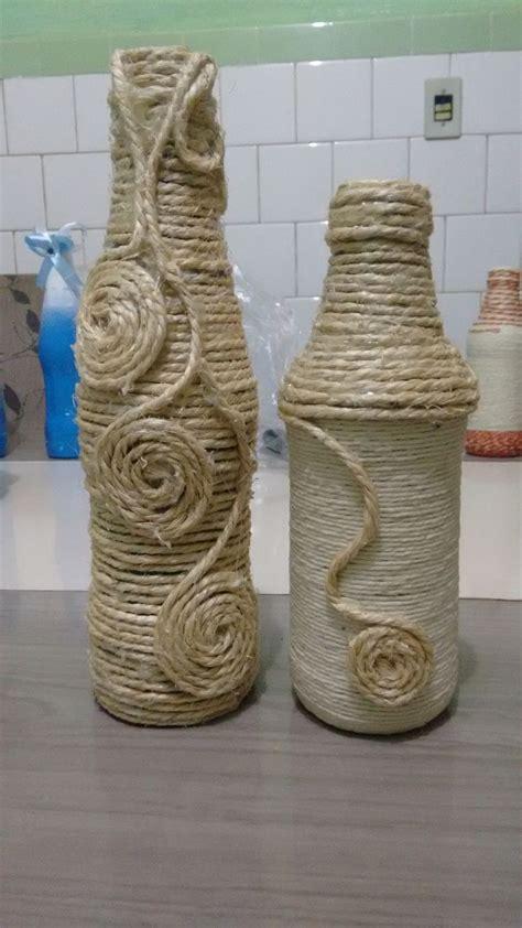 garrafas decoradas sisal 11 melhores imagens de garrafas decoradas corda
