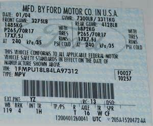Ford Truck Vin Decoder Vin And Door Tag Decoding 2004 Expedition Ford Truck