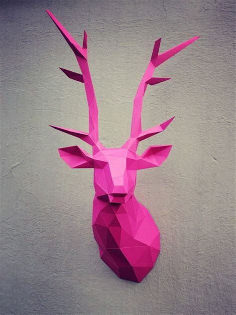 Papercraft Deer Head On Behance Papercraft Deer Template