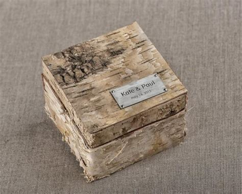 birch bark wood wedding ring bearer box rustic wooden