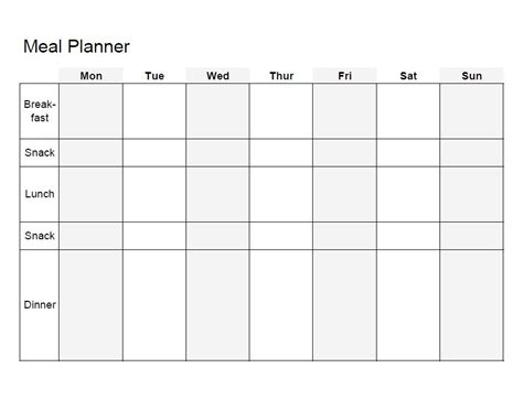 meal planning template printable dinner meal planner template for month