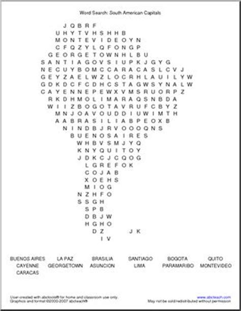 South America Search Word Search South American Capitals Abcteach