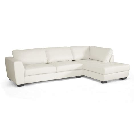 orland white leather modern sectional sofa set with right
