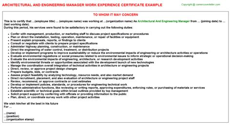 Architectural And Engineering Managers Description by Architectural And Engineering Manager Work Experience Certificate Sle