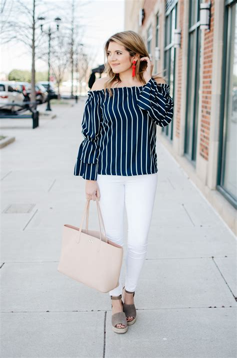 Sleeve Striped Top stripe shoulder bell sleeve top by m