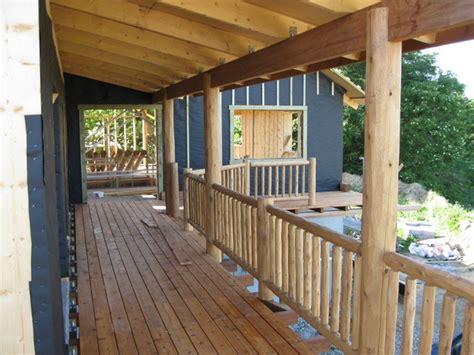 Cedar Cladding Porch Posts cedar deck posts and cedar railing rustic exterior