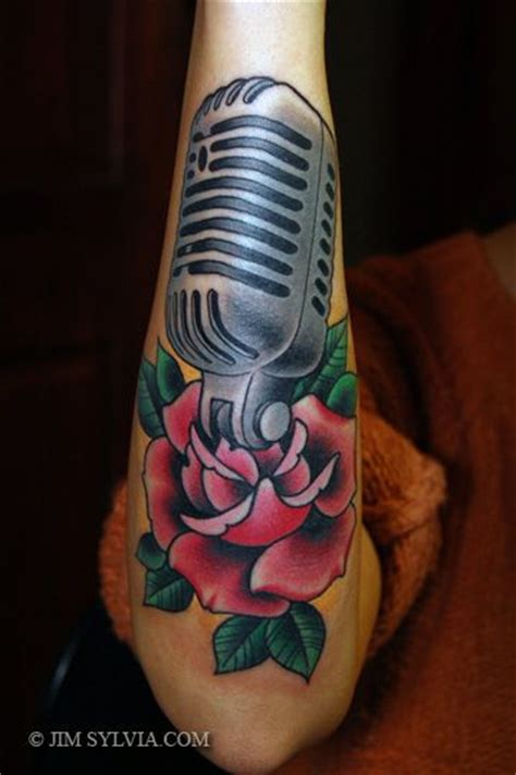 microphone and roses tattoo microphone tattoos and designs on