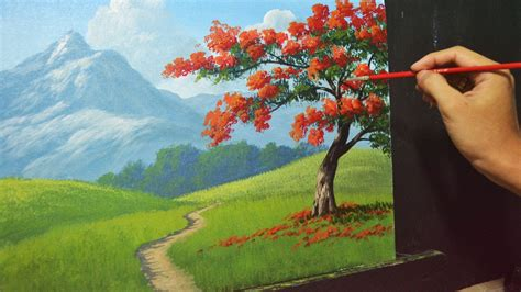 how to paint acrylic landscape painting lesson the tree by jmlisondra