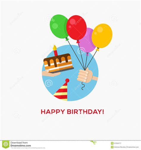 Flat Happy happy birthday icon stock vector image 51334117