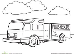 coloring pages fire trucks preschool worksheets education com
