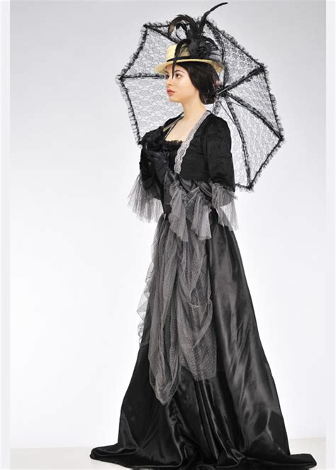 Womens Black And Grey Victorian Ladystume