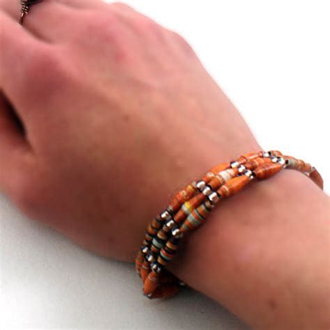 How To Make Paper Bead Bracelets - recycled paper bead bracelets