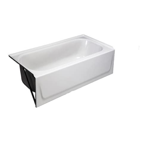 shop briggs 27 in white enameled steel alcove bathtub with