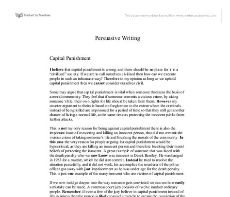 Persuasive Essay Against Capital by Capital Argumentative Essay Against