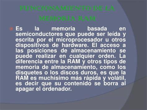 la memoria de los funcionamiento de la memoria ram