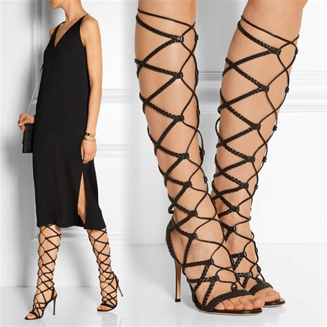 gladiator thigh high heels knee high gladiator high heel sandals tsaa heel