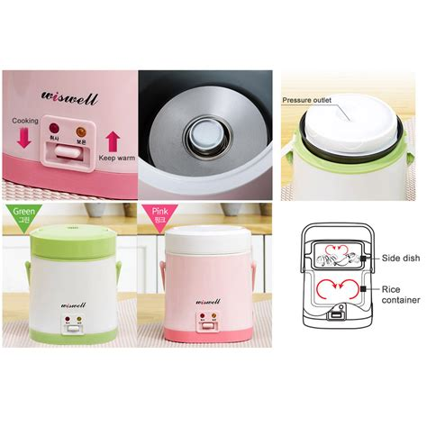 Mini Rice Cooker Portable wiswell electric mini rice cooker bento rapid cooking