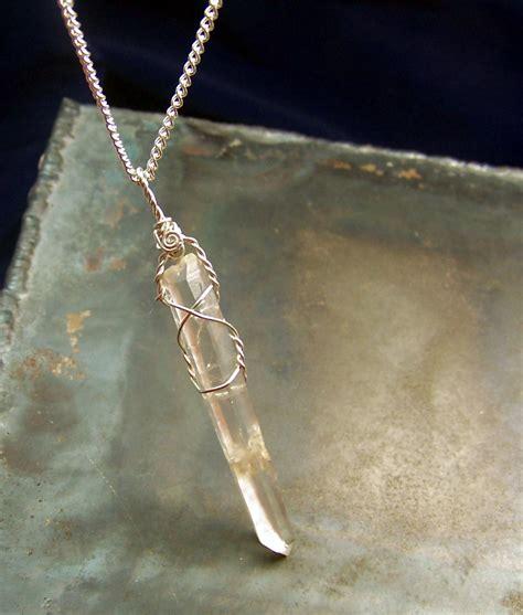 how to make quartz jewelry quartz wire wrap necklace pendant sterling silver