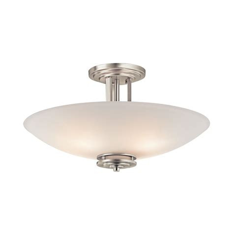 shop kichler lighting 24 in w brushed nickel etched glass shop kichler hendrik 24 in w brushed nickel etched glass