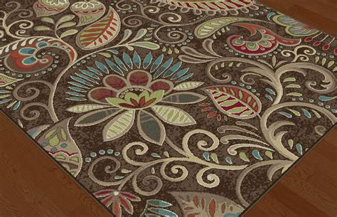 Paisley Area Rug Brown Transitional Paisley Floral Area Rug Multi Color Leaf Vines Casual Carpet Ebay