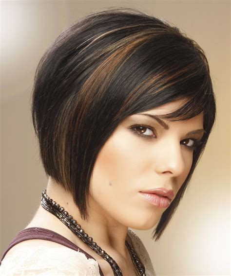 caramel brown bobs for round faces medium straight formal bob hairstyle with side swept bangs