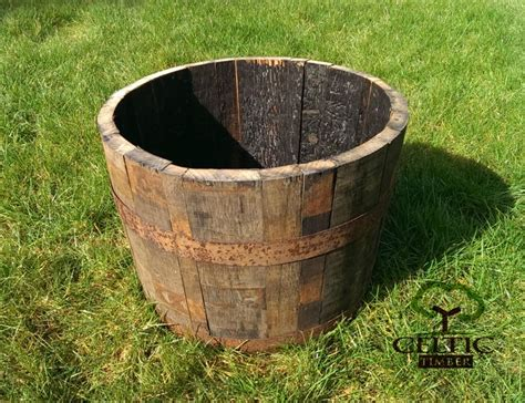 Oak Half Barrel Planters by Oak Whiskey Half Barrel Planters