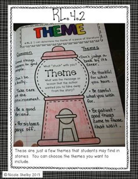 theme definition common core 4th grade interactive reading notebook aligned with
