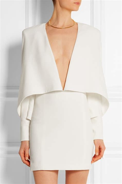 Minidress Cape balmain cape effect crepe mini dress in white lyst