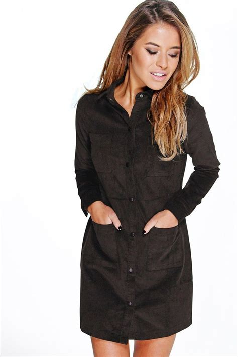 Black Buttoned Culottes Size S 12432 emily cord 4 pocket shirt dress winter jackets s plus sizes and boohoo