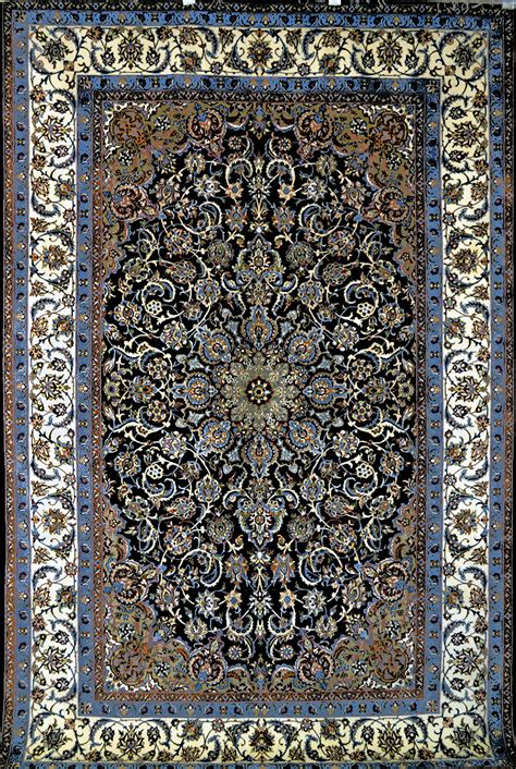 Rug Be by Slimi Royal Blue Isfahan Silk Rug Item 794