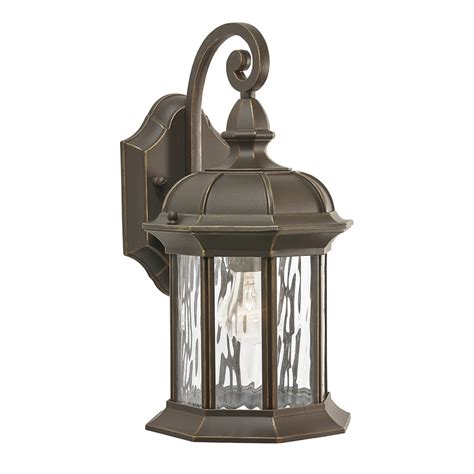 Lowes Patio Lighting Shop Kichler Lighting Brunswick 12 76 In H Olde Bronze Outdoor Wall Light At Lowes