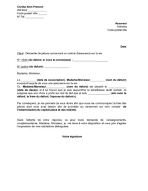 Modeles De Lettre Pour Un Deces modele lettre suite a deces document