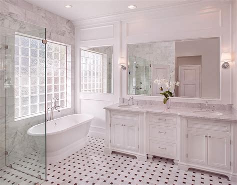 white carrara marble bathroom marble basketweave tile floor transitional bathroom