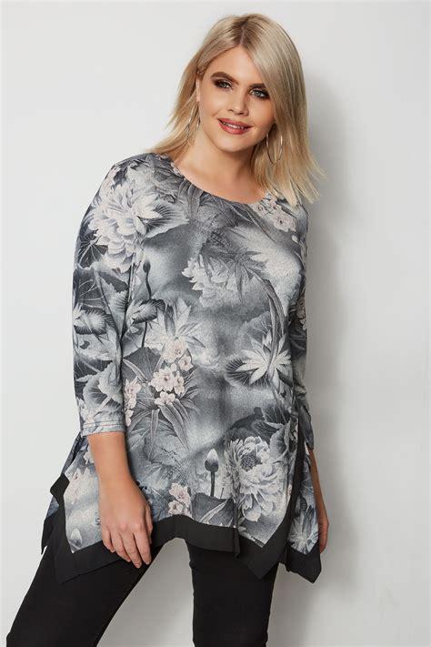 div placement izabel curve grey floral hanky hem top plus size 16 to 26
