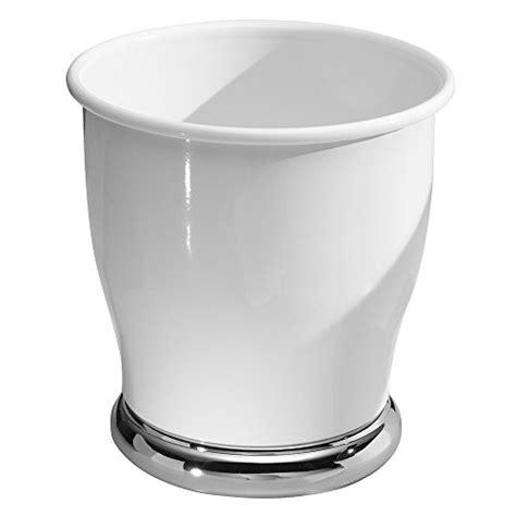 Ceramic Bathroom Trash Can Interdesign Lora Waste Can White Chrome Hardware Building