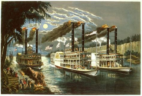steam boat on the mississippi currier and ives the chions of the mississippi
