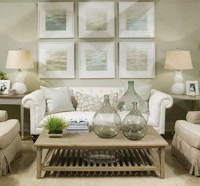 Soft Green Living Room by Soft Green Beachy Coastal Living Room Design With White