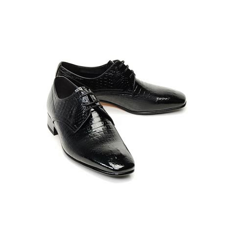 mens black real cow leather lace up crocodile skin style