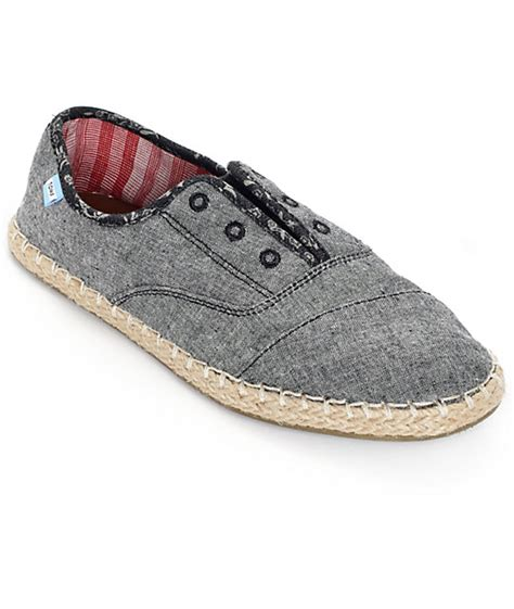 toms palmera grey chambray slip on womens shoes