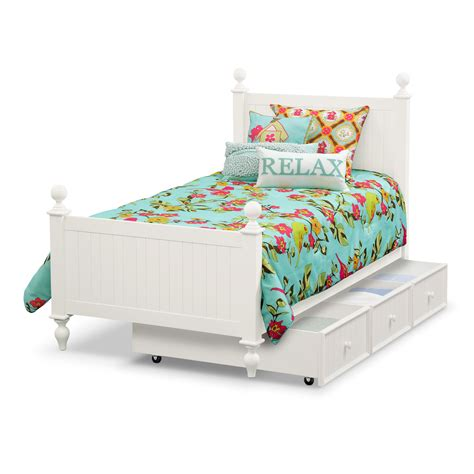 Colorworks Full Bed With Trundle White American American Trundle Bed
