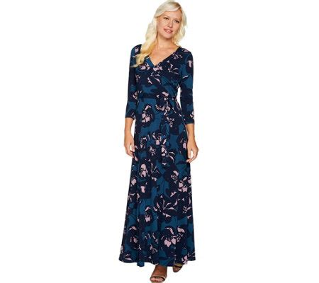 Dress Terusan Knit Sabrina Du du jour regular printed faux wrap knit maxi dress page 1 qvc