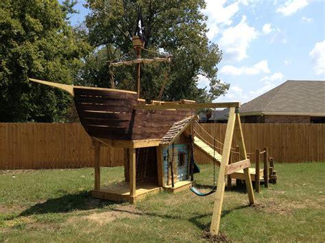 bootsgestell kaufen kinderspielplatz selber bauen piratenschiff mit schaukel