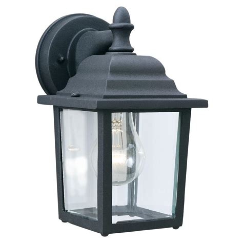 Home Depot Outdoor Wall Lighting Philips Outdoor Essentials 1 Light Black Outdoor Wall Lantern Sl94237 The Home Depot