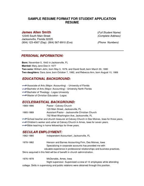 Format Of Writing A Curriculum Vitae by Cv Format