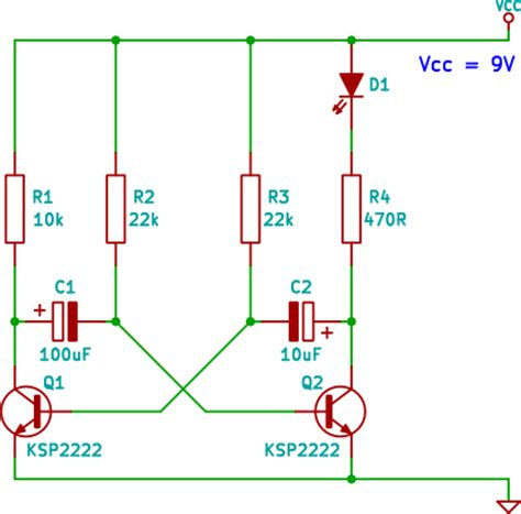 transistor npn led two transistor led flasher circuit