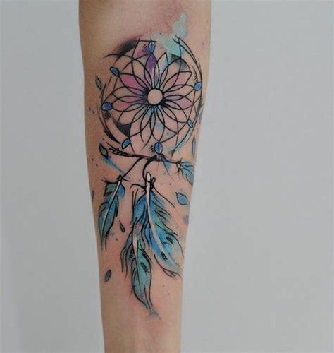 dream catcher tattoo with color tatouage attrape r 234 ve water color tattoo ideas