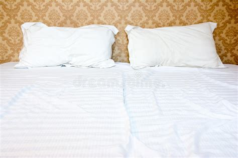two pillows on bed stock photo image of domestic room messy bed with two pillows stock image image of bedroom
