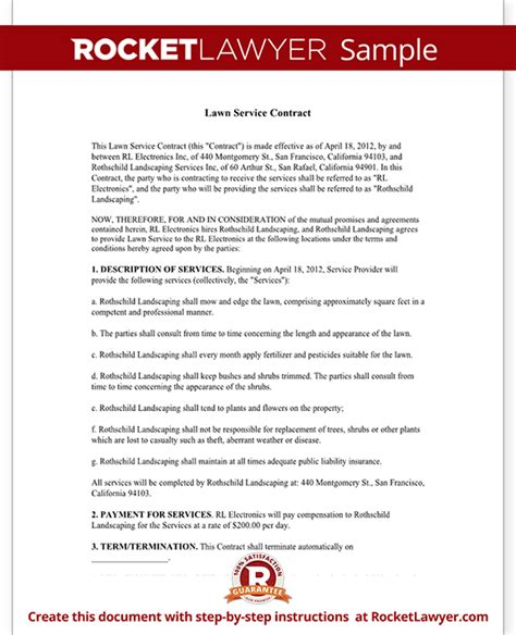 Lawn Service Contract Template With Sle Simple Lawn Care Contract Template
